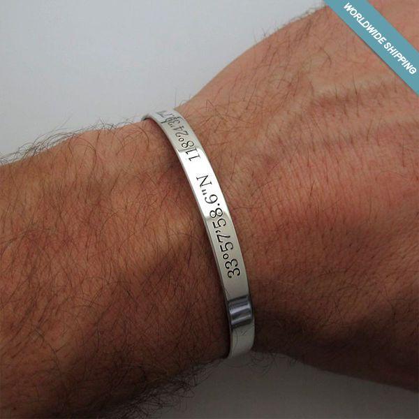 21baa6f230d1e Mens Custom GPS Coordinates Bracelet - Personalized Sterling Silver Cuff   NadinArtDesign  Cuff