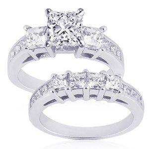 2 Ct Princess Cut 3 Three Stone Diamond Wedding Engagement Rings For Me
