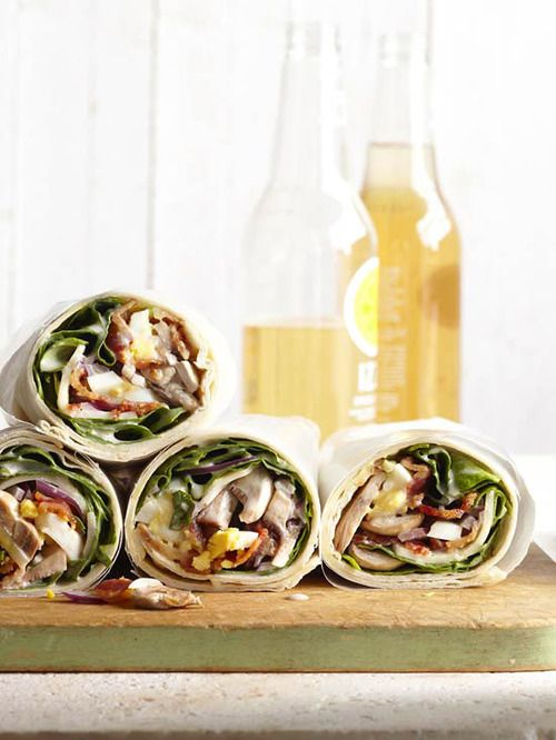 Spinach Salad Wraps:These savory wraps have a tasty bacon and egg filling and a flavorful garlicky dressing.