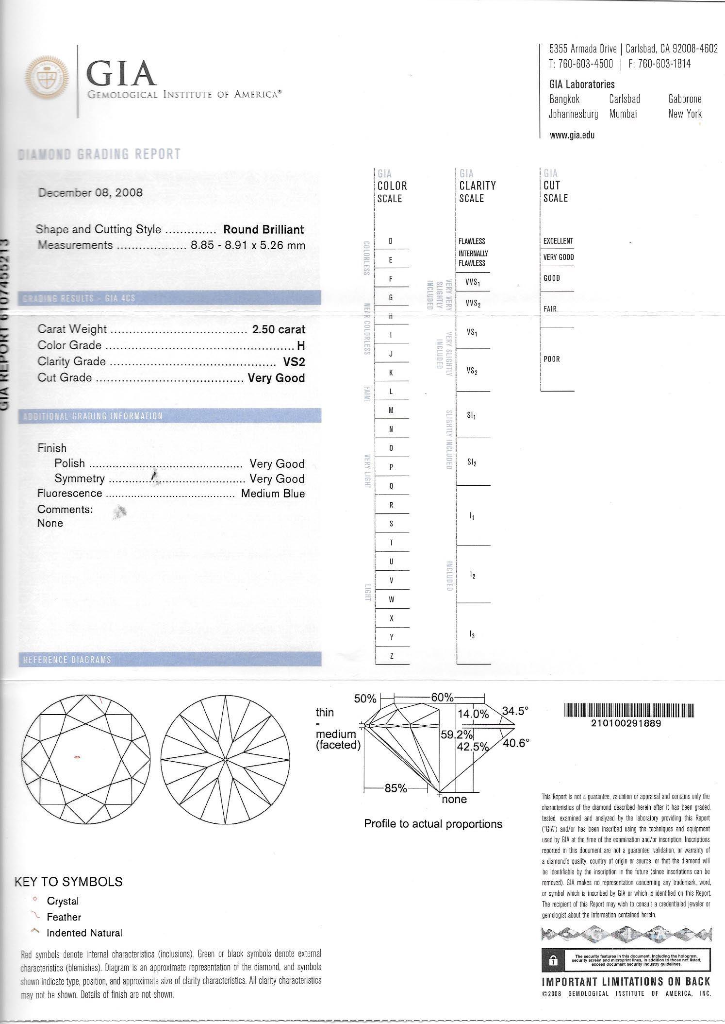 Gia Certification Report Tacori Platinum Ladies Engagement Ring
