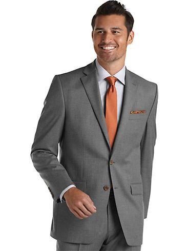 afde5cbe Lauren by Ralph Lauren - Men's Wearhouse light gray suit + brown button  accents (+ earth-tone tie + neutral shirt + brown leather dress shoes) =  superb ...