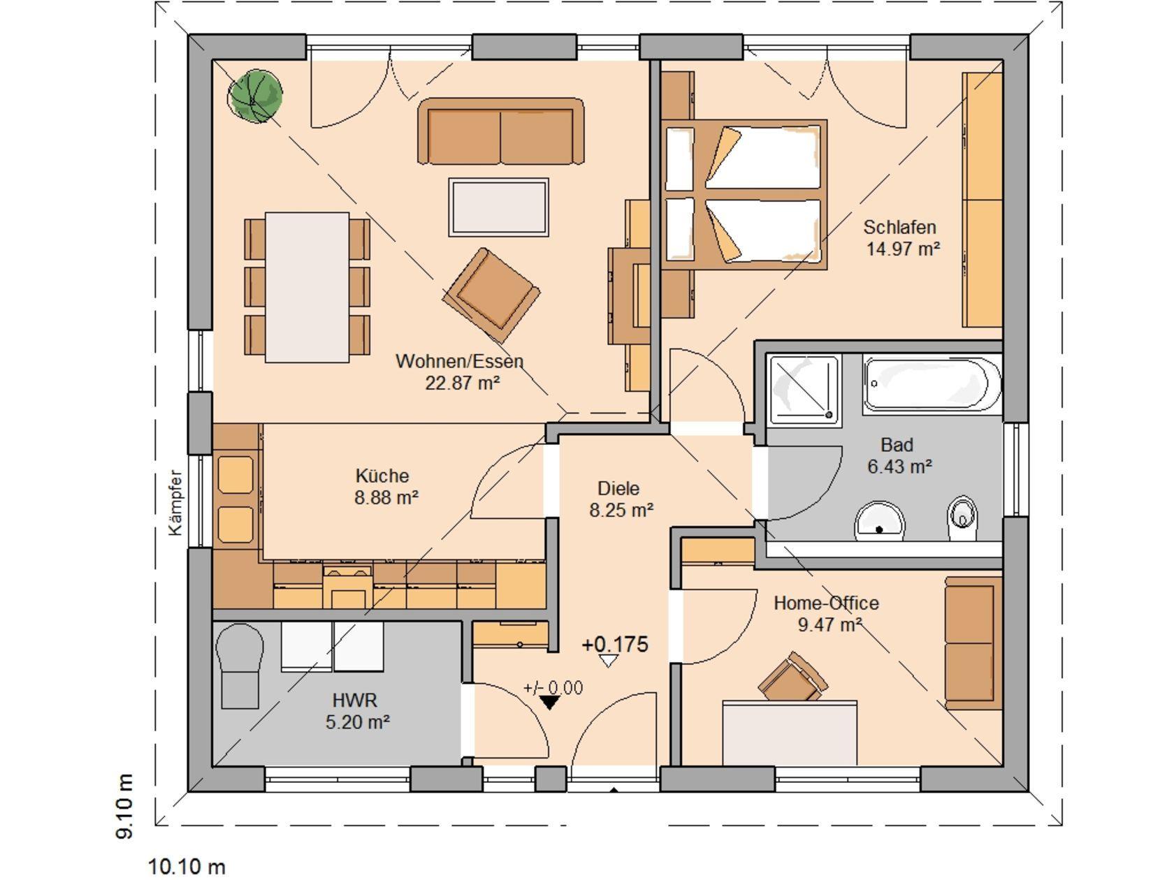 Einfamilienhaus mit kleiner einliegerwohnung grundriss  Kern-Haus Bungalow Easy Grundriss Erdgeschoss | Grundrisse ...