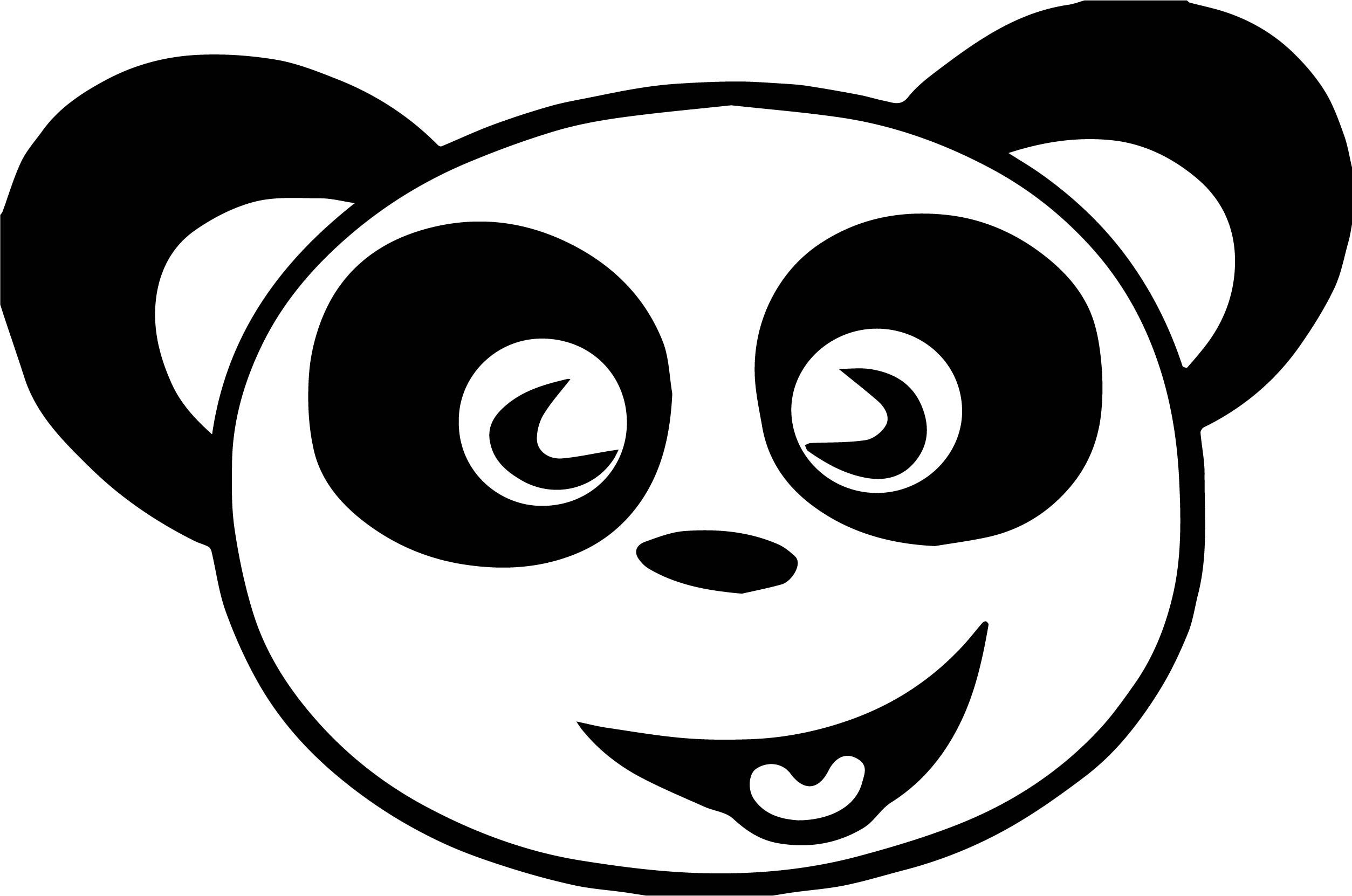 Nice Happy Panda Face Free Images Coloring Page
