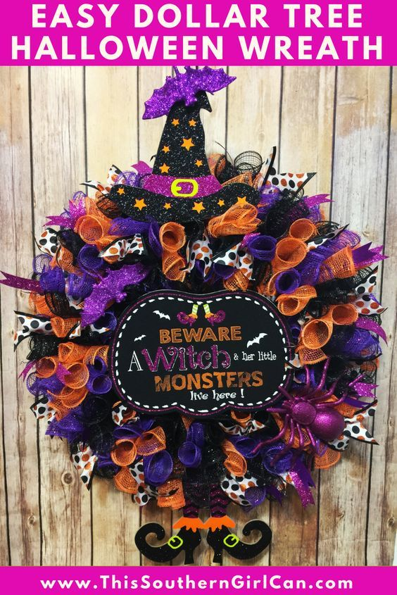 Easy Dollar Tree Deco Mesh Halloween Wreath