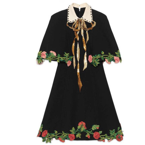 Gucci Embroidered Wool Silk Cape Dress ($5,700) ❤ liked on Polyvore  featuring dresses,