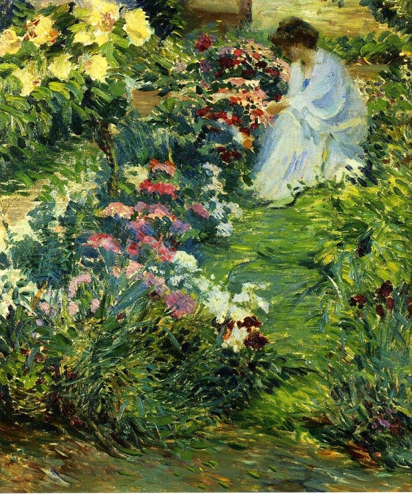 Picking Flowers In The Breck S Garden Giverny 1890 S John Breck