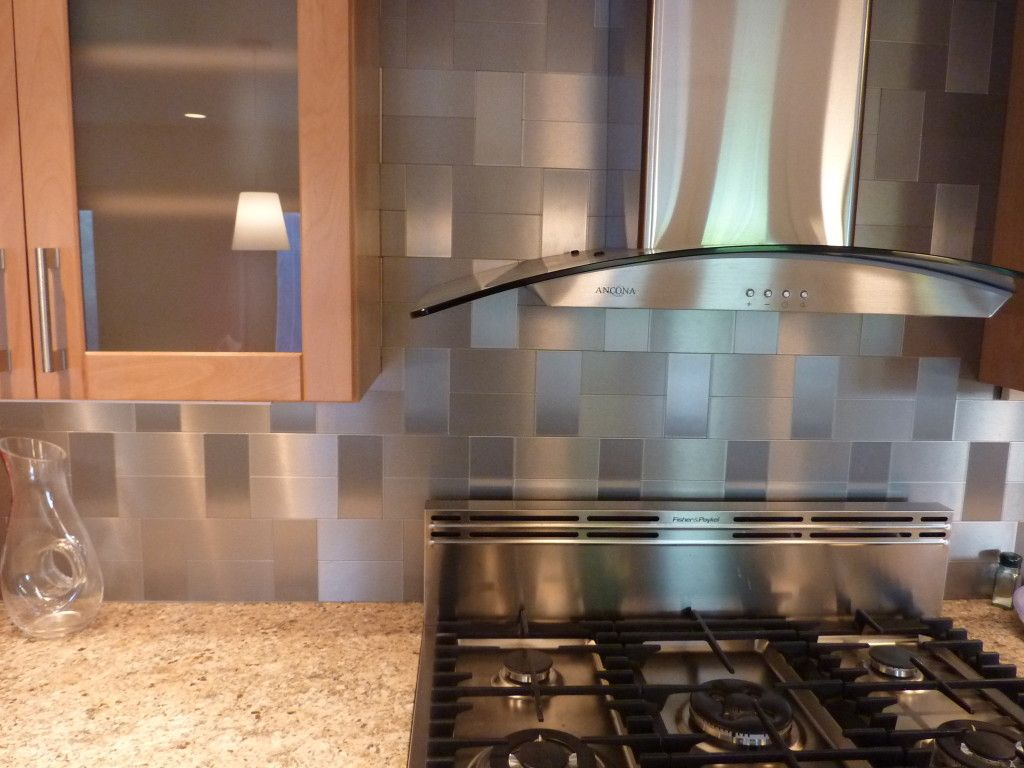 Nice Minimalist Kitchen Ideas With Gray Subway Glass Self Stick Tile Backsplash,  Stainless Steel Stove Hood Appliance, And Maple Wood Frosted Glass Cabinet  Doors ...