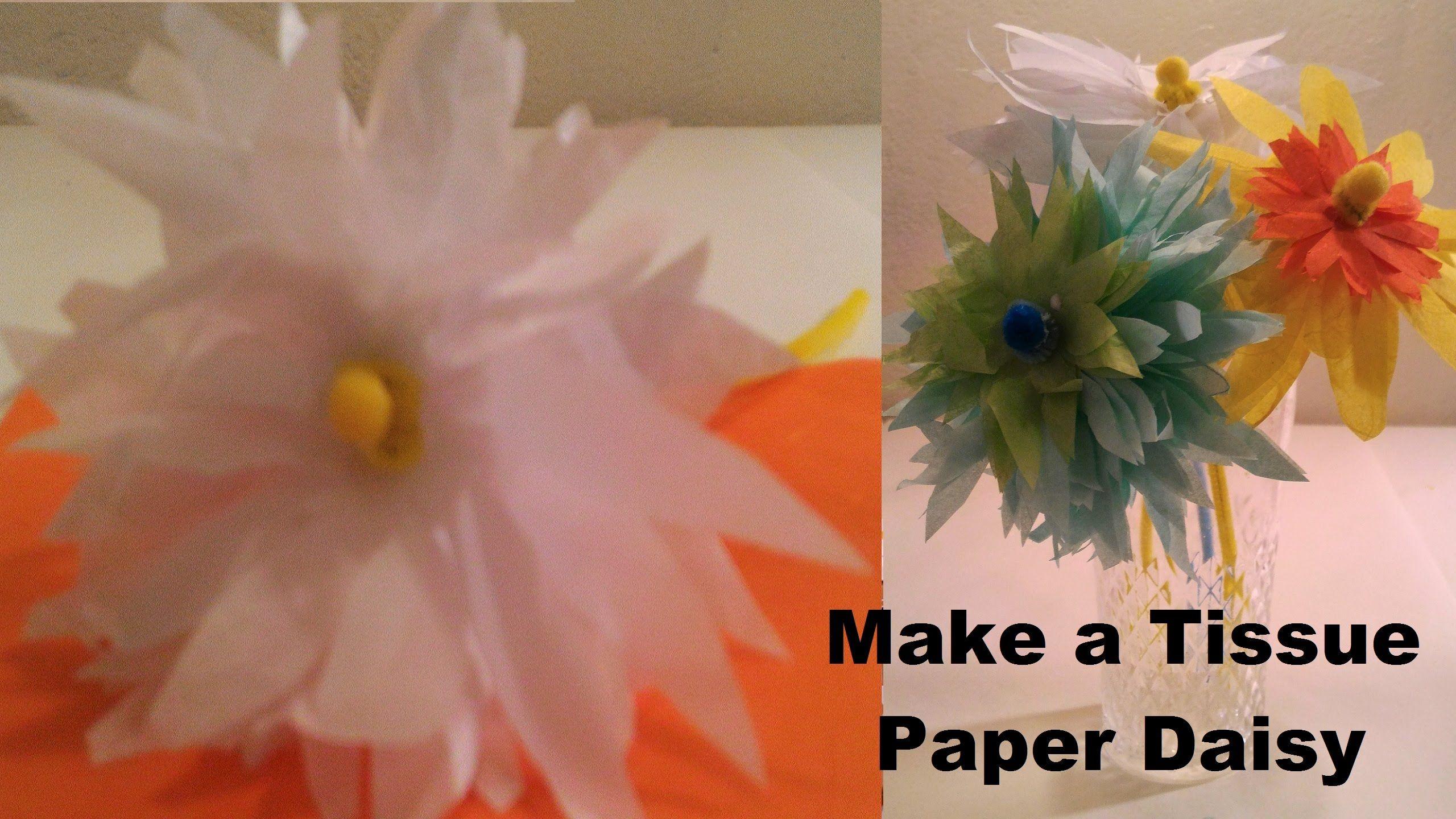 Make a tissue paper white yellow daisy make a tissue paper white