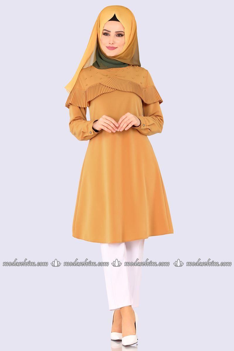 1edddceda59 Piliseli İnci Detay Tesettür Tunik PL873 Hardal, 2019 | giyim | Moda ...