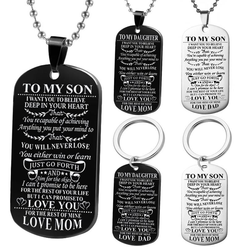 Engraving stainless steel dog tags dad mom to son daughter