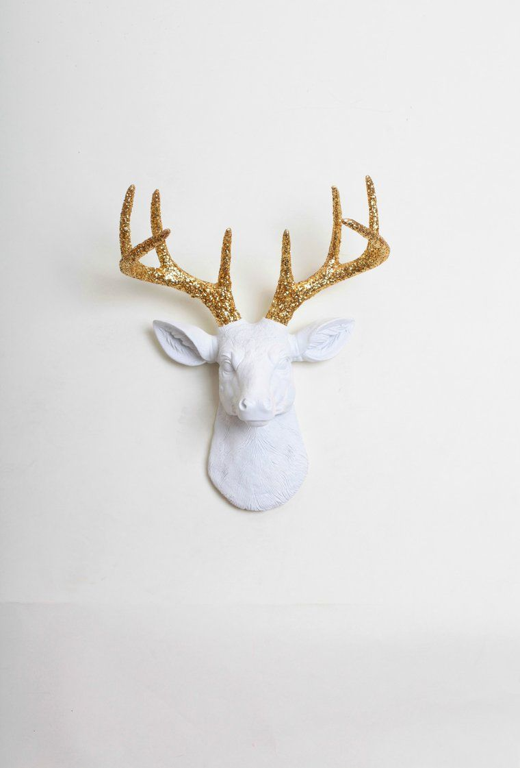 The Alfred Gold White Deer Head Wall Mount Faux Taxidermy