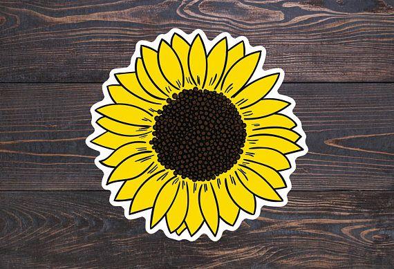 Sunflower Sticker Yellow Laptop Sticker Sunflower Decal