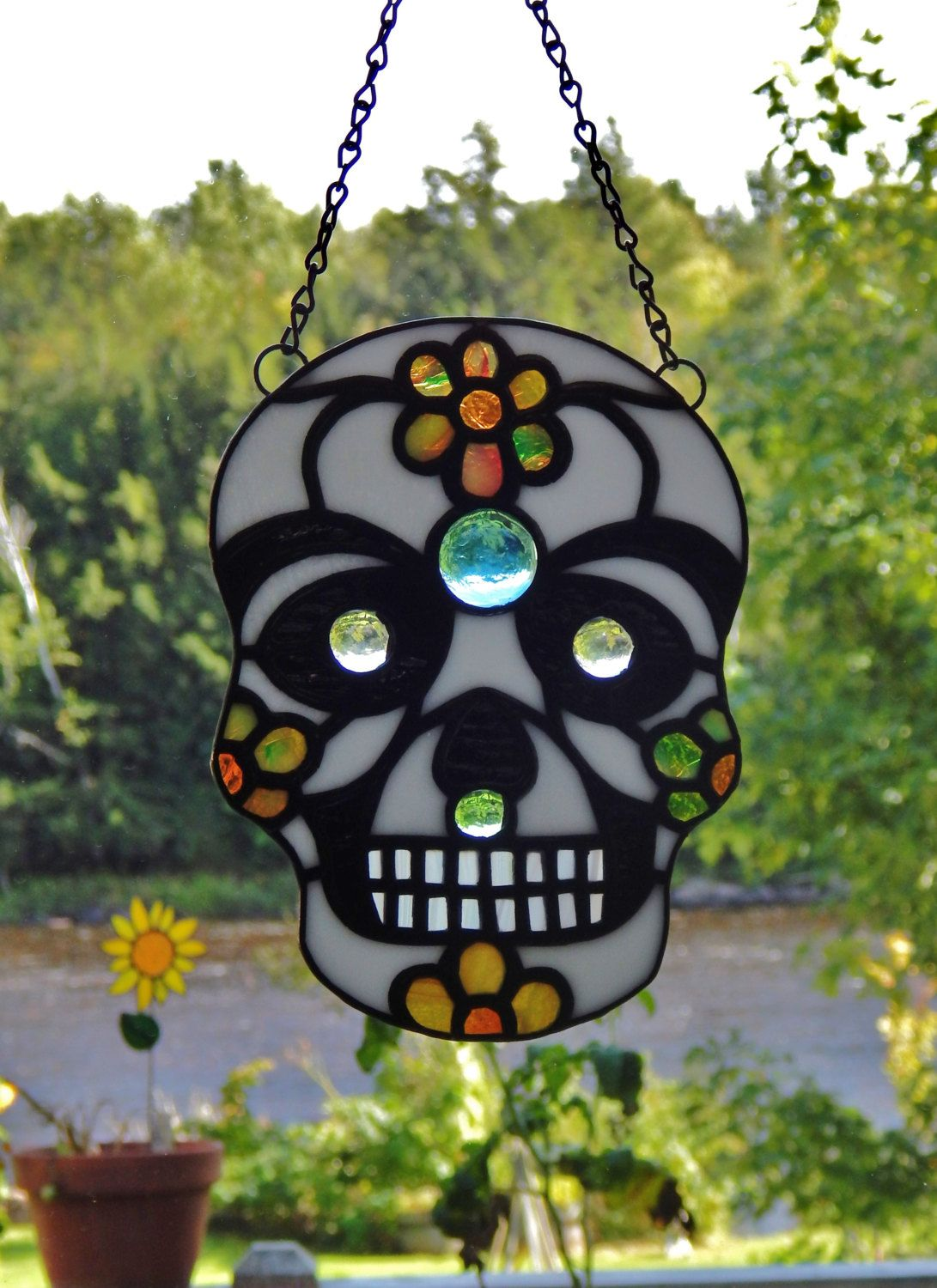 Stained glass day of the dead sugar skull by redfordglassstudio stained glass day of the dead skull suncatcher by redfordglassstudio on etsy dailygadgetfo Choice Image
