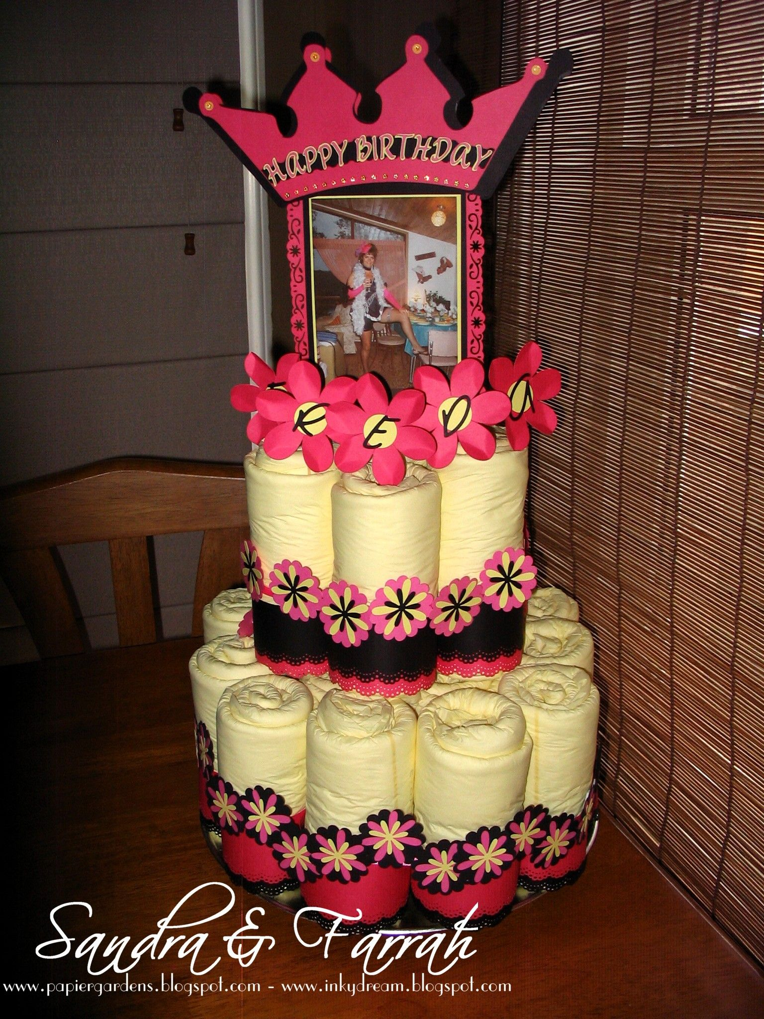 Gag adult diaper cake for a 65th birthday party ideas for 65th birthday party decoration ideas