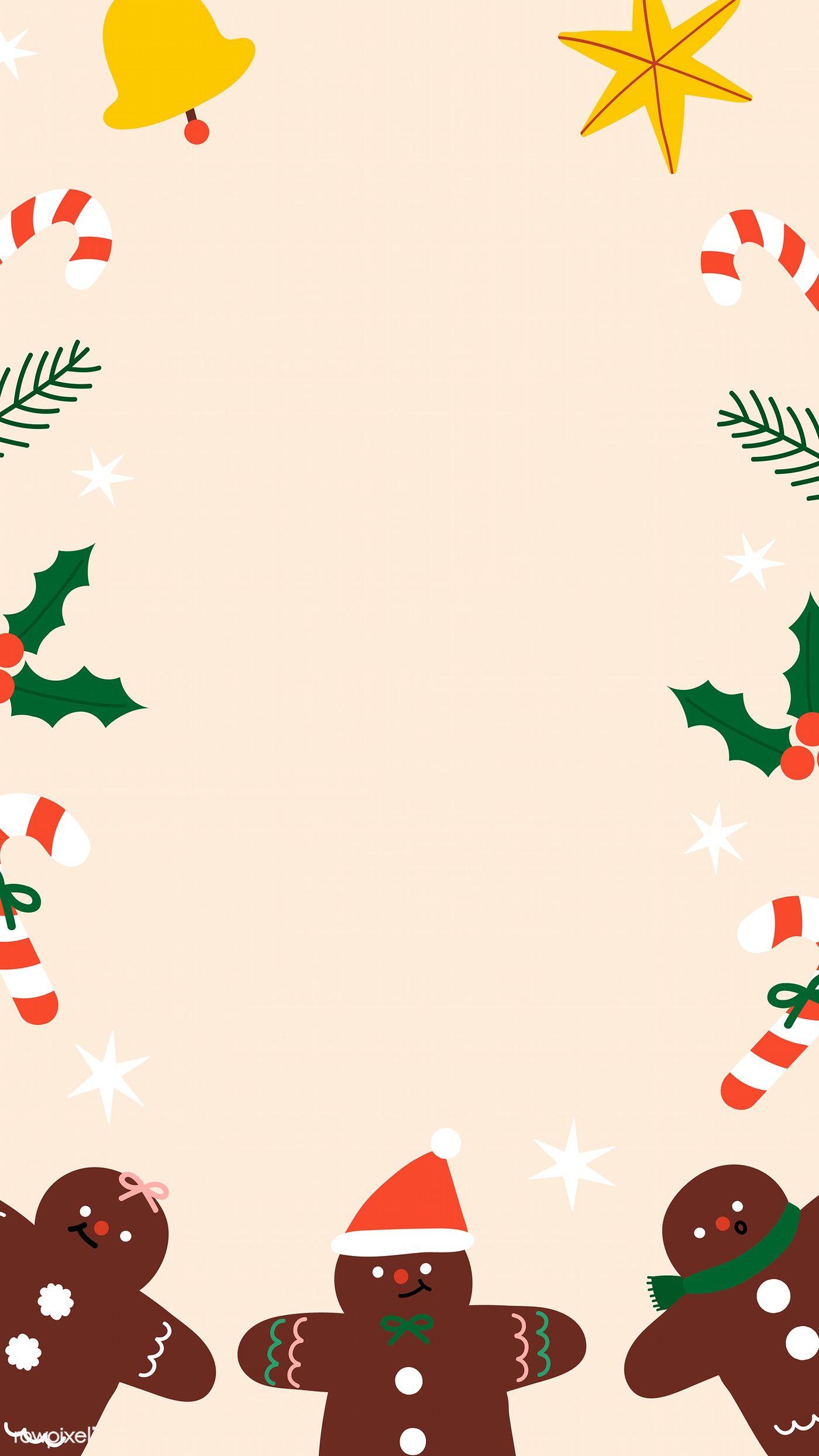 Download Premium Vector Of Festive Christmas Gingerbread Man Frame Mobile Wallpaper Iphone Christmas Cute Christmas Wallpaper Christmas Phone Wallpaper