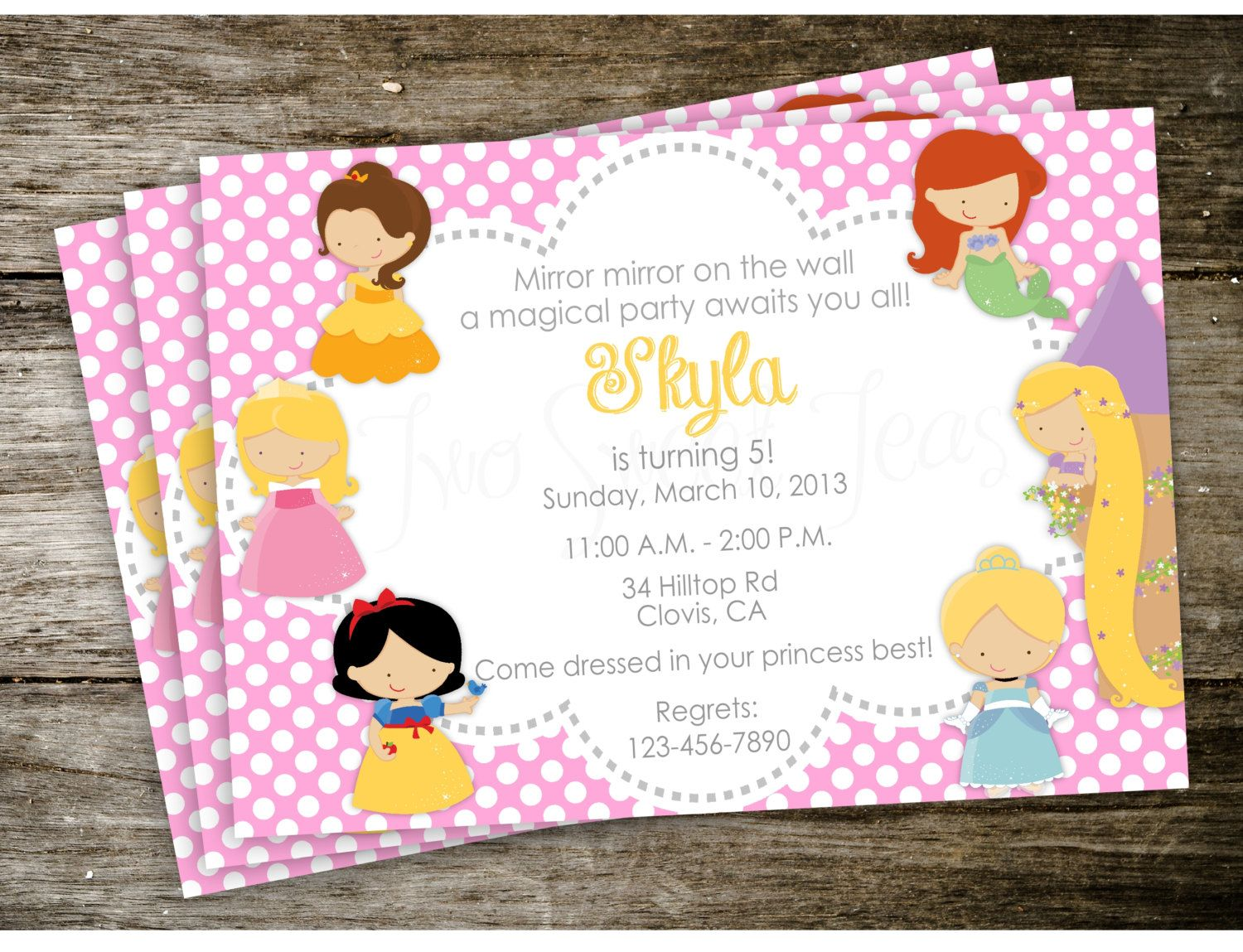 Polka Dot Disney Princess Birthday Party Invitation by 2SweetTeas ...