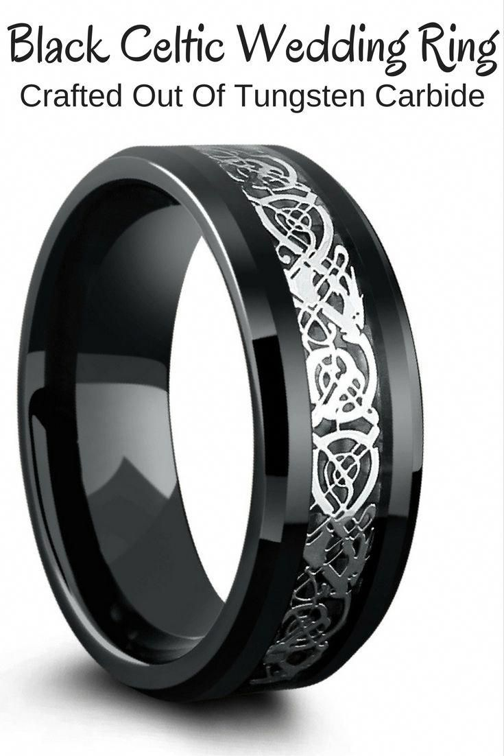 Black celtic wedding ring crafted out of tungsten carbide