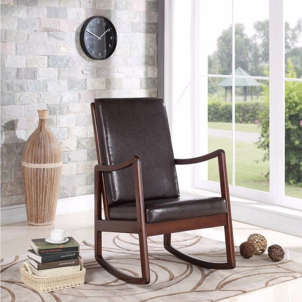 Details About Bishop Espresso Cushion Contemporary Rocking Chair Sturdy  Home Furniture