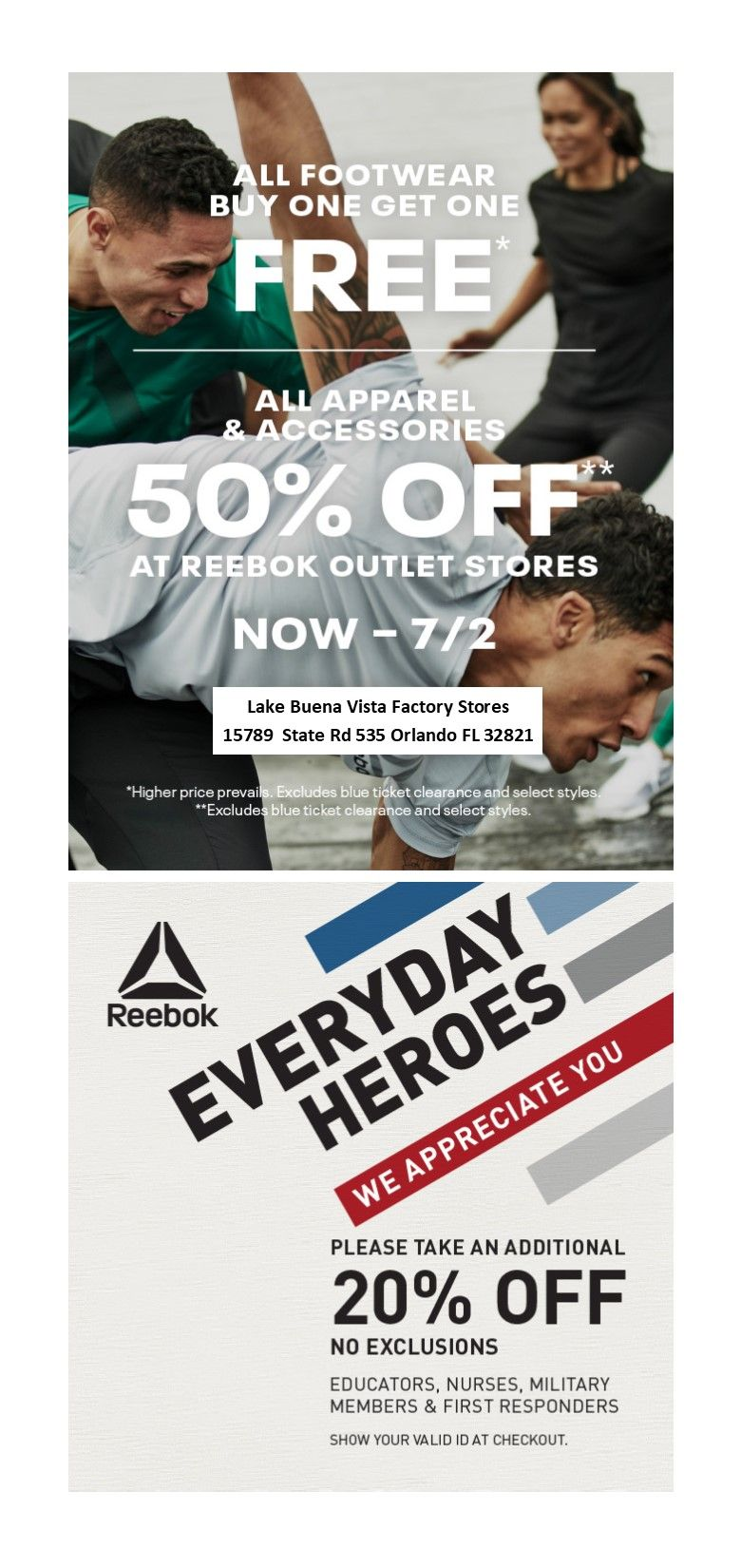 Diez años ángel Casa de la carretera  Reebok Outlet in store promotion! Valid now thru 7/2. All footwear buy one  get one free. All Apparel and accesories … | Shop for less, Easy spirit,  Discount fashion