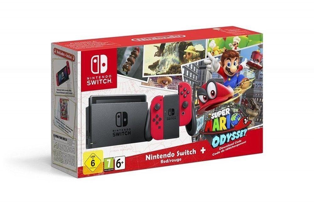 Nintendo Switch Super Mario Odyssey Edition Red Joy Cons Game