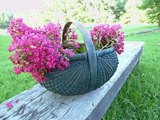 1800s Gizzard Basket Tightly Woven Splint Old Style Blue Paint Primitive NR