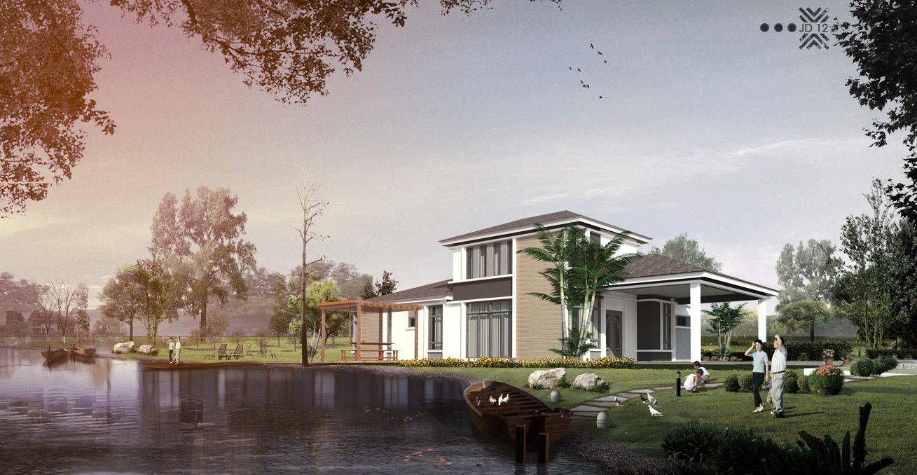 BUNGALOW DESIGN NEAR THE RIVER  #ARCHITECTURE #SENIBINA #JD12