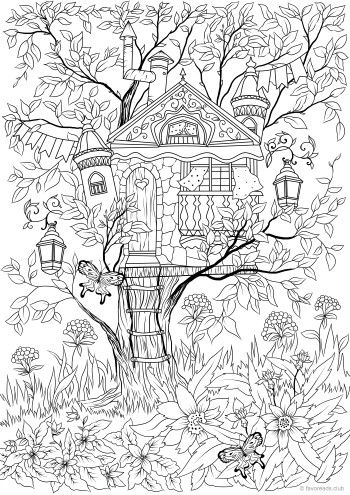 Birdhouse #adultcoloringpages