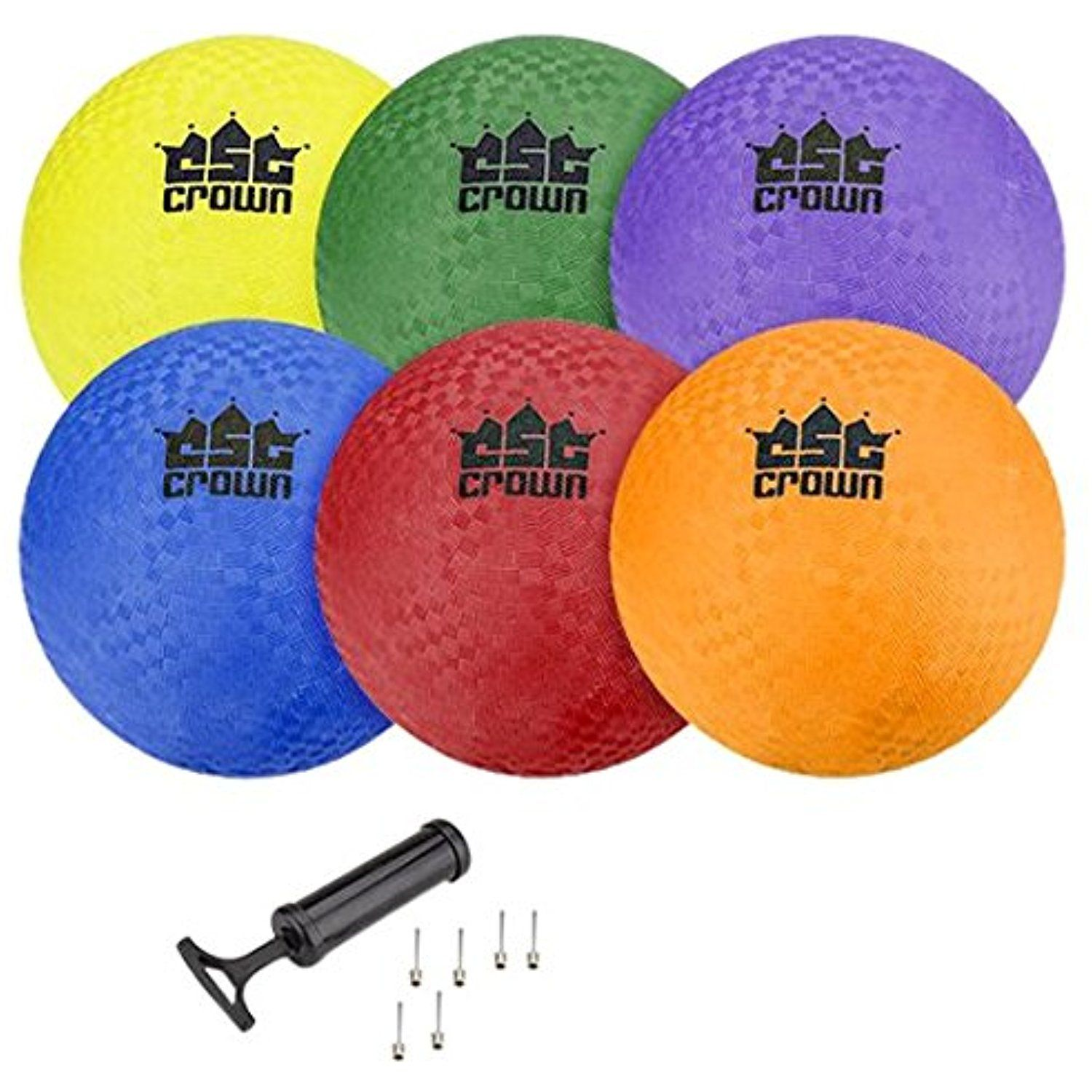 """Set of 6 8.5"""" Playground Balls with Hand Pump and Needles"""