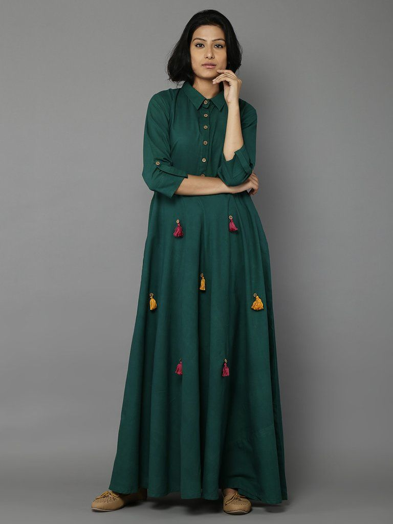 bb32b2f3e Green Cotton Long Dress | Beautiful Dresses in 2019 | Cotton long ...