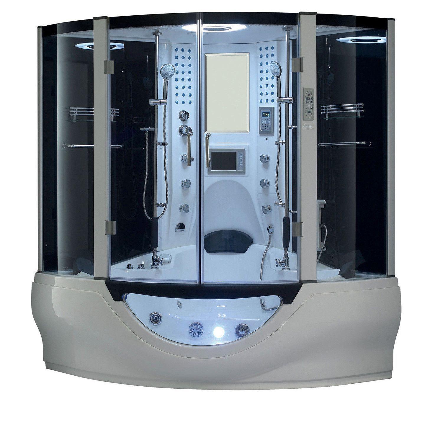 Maya Bath Valencia Steam Shower Sauna Tub With White Acrylic ...