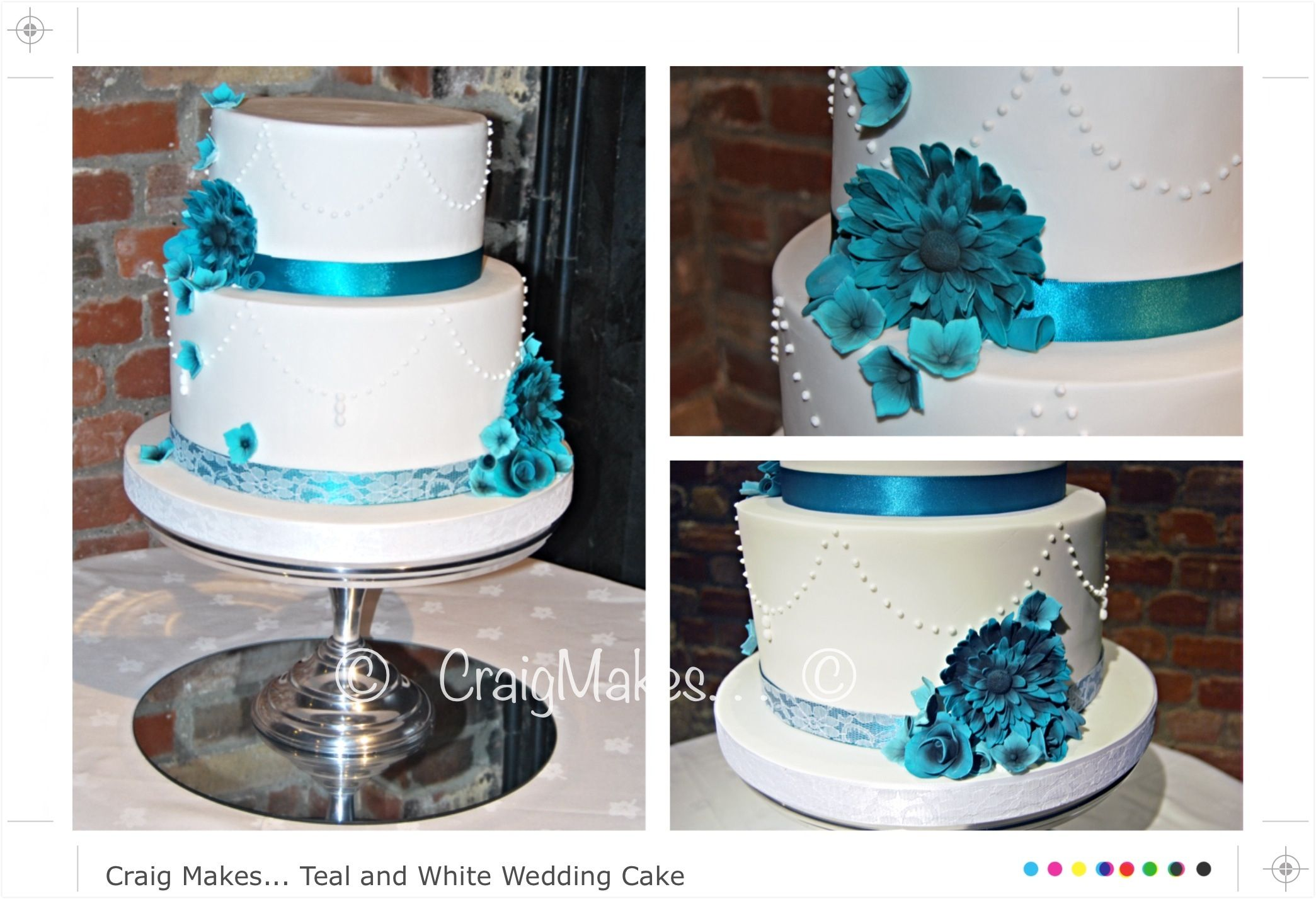 Deep Two Tier Piped Wedding Cake With Stunning Vibrant