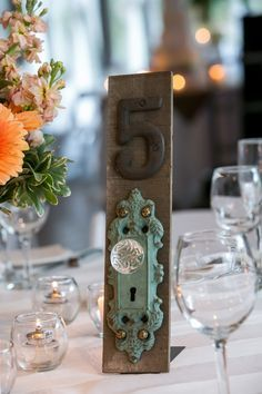 Unique Table Numbers For Wedding Using Old Door Knobs