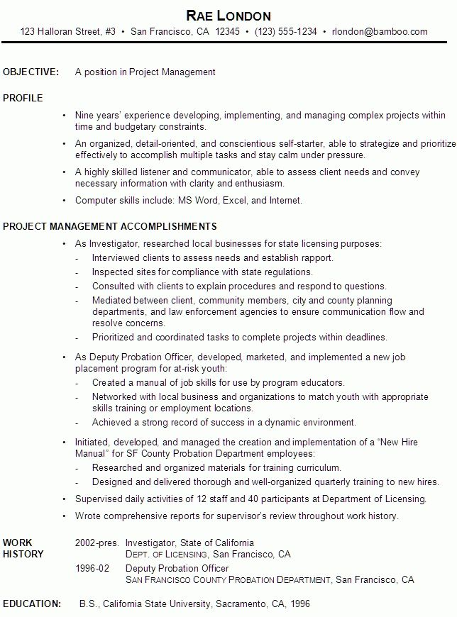 Project Management Skills Resume Resume Example Project Manager Intended For Management Samples