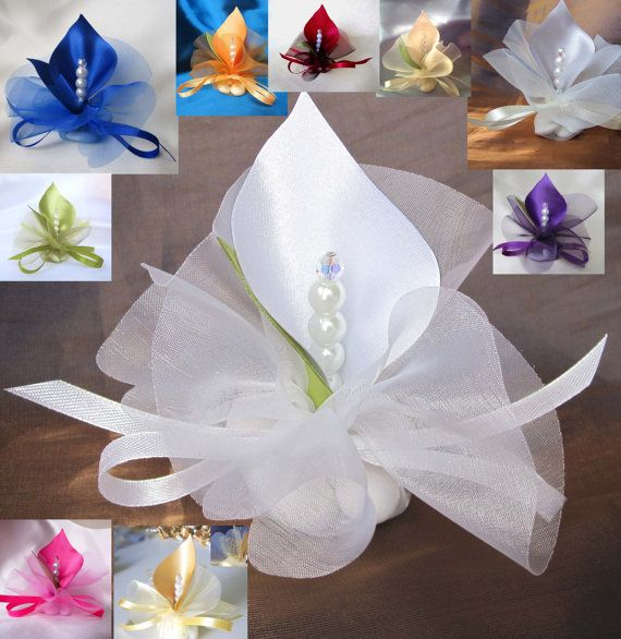 Fabric Handmade Calla Lily Wedding Favors White Or By Adiart1 1 20