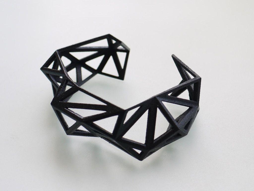 Geometric Jewelry  Triangulated Cuff bracelet in Black 3d printed