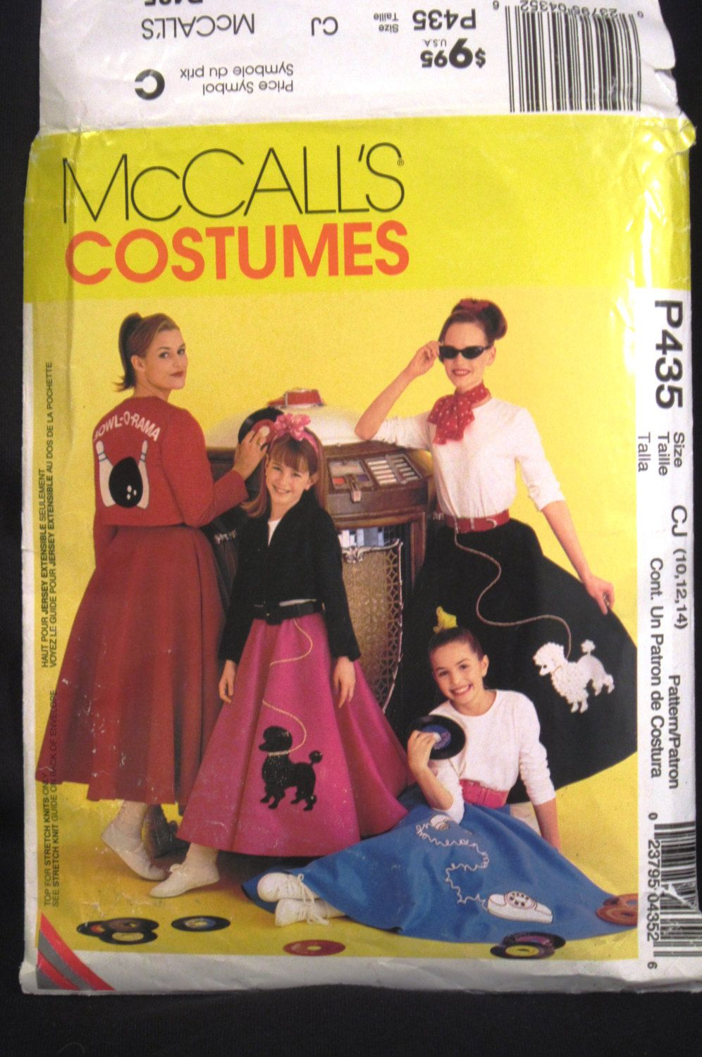 Poodle Skirt Pattern Girls Size 10 12 14 1950s Costume McCalls P 435 Phone Bowling Appliques