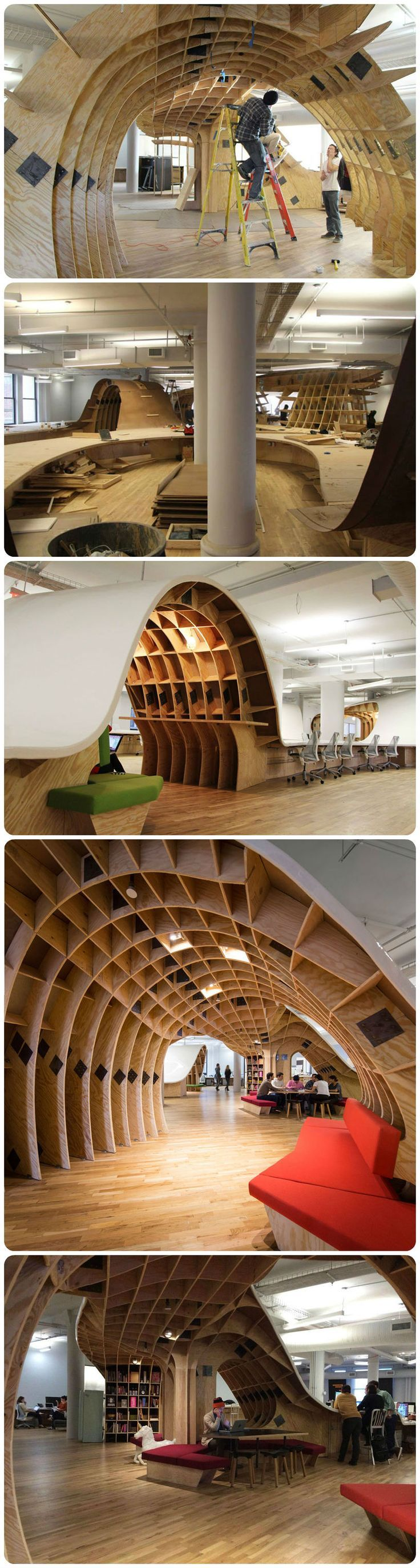 futuristic office ditches cubicles super. Futuristic Office Ditches Cubicles For A Super Desk That Seats 125 Employees - TechEBlog | Architecture Pinterest Barbarian Group, And Desks F