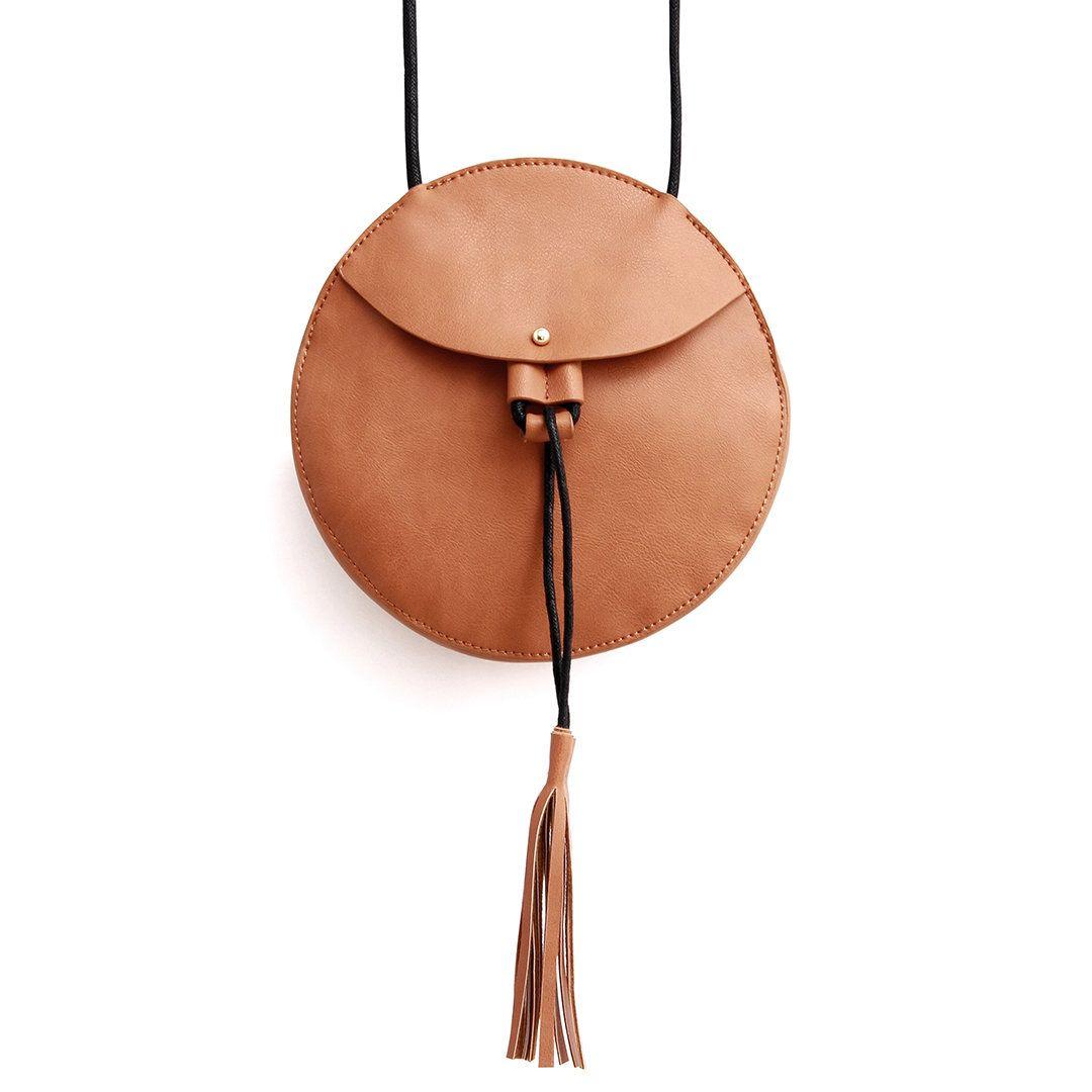 Round Mini Cross Body Bag in Brown with Tassel - US$11.95 -YOINS