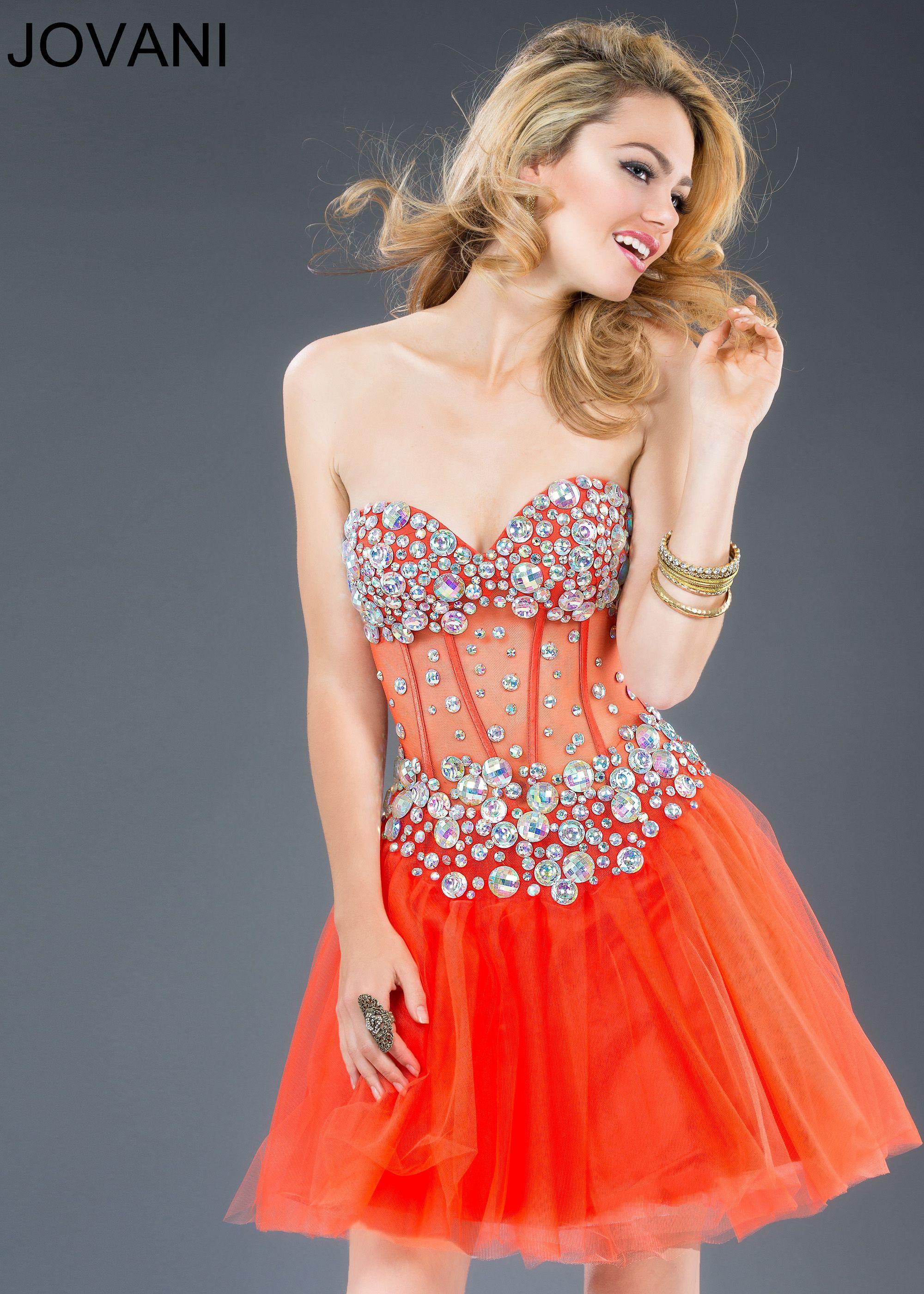 Perfect For Fall! We Love Orange!Jovani 88750 - Short Orange Strapless Corset Homecoming Dresses Online