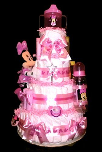 3 Tier Diaper Cake Disney Minnie Mouse Pink /& Burlap or Mickey Mouse  Baby Shower Centerpiece