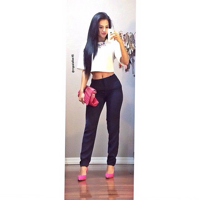 """87871cb53359a9 """"I did wear this for work but with a white tank top underneath the crop top.   workootd"""