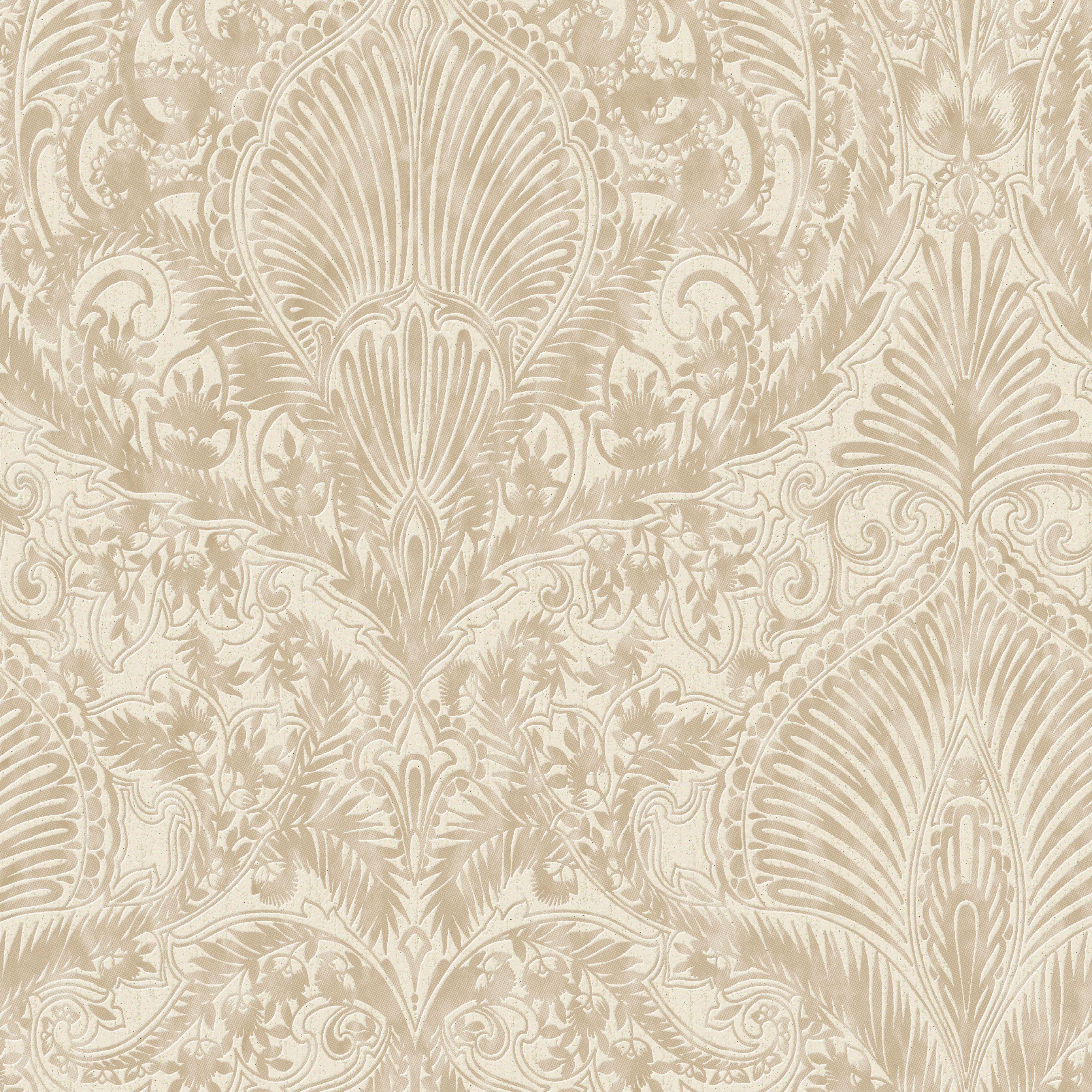 burlesque cream amp gold effect damask wallpaper