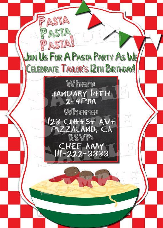Printable PASTA PARTY INVITATION Italian Themed Party – Italian Themed Party Invitations