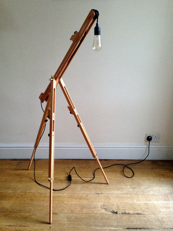 EASEL LAMP - Wooden Handmade New & Floor Standing | Rustic ...