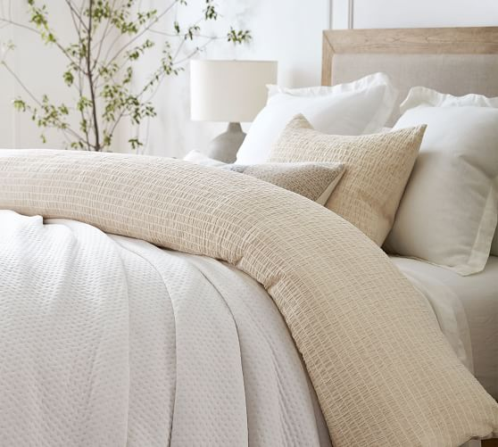 Beck Ruched Cotton Duvet Cover Shams White Pottery Barn Home Decor Furniture Home Furniture