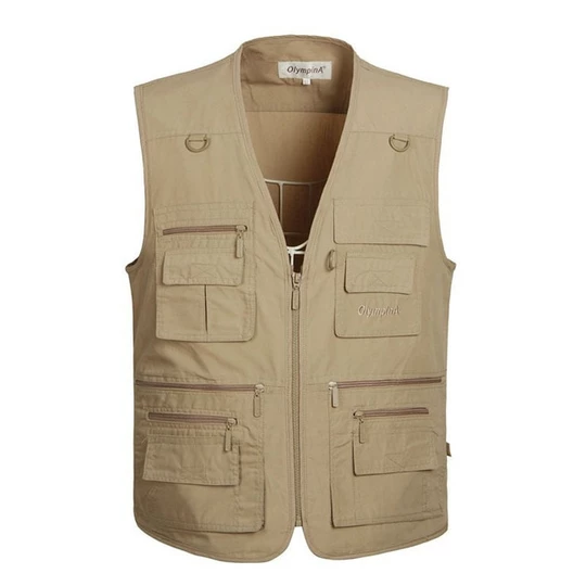 Vest Men Army Waistcoat Mens Vest Fashion Casual Coats,Khaki,5XL