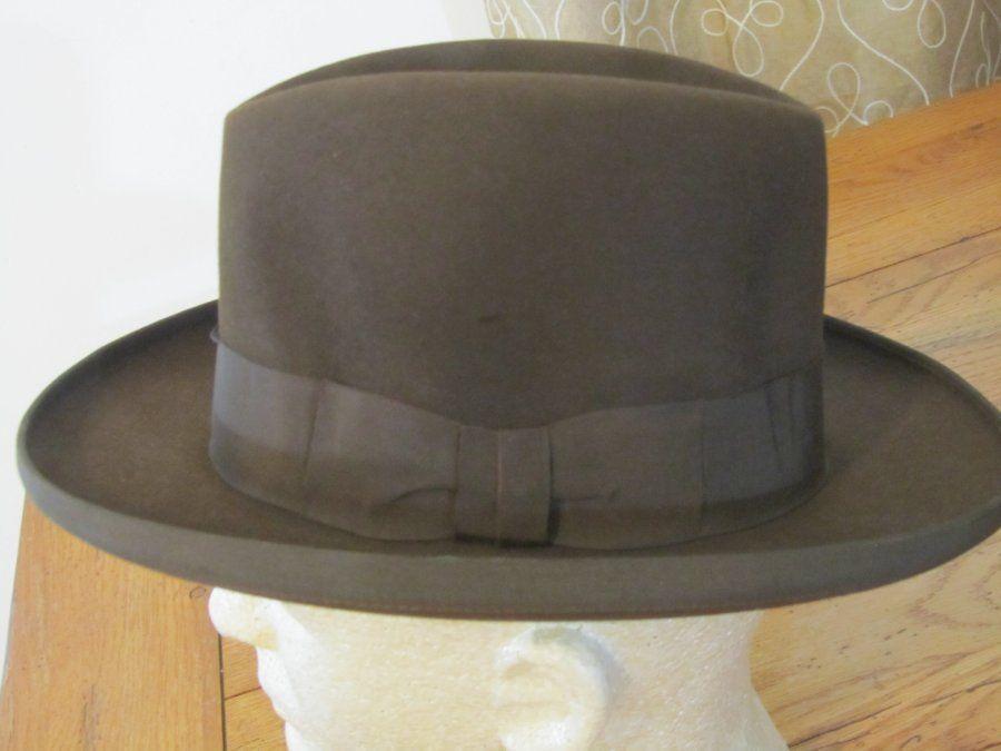 261153b2e63b6 Vintage c 1940 50s Brown HOMBURG Fedora Brown Hat Schoble 7 1 8  Fedora