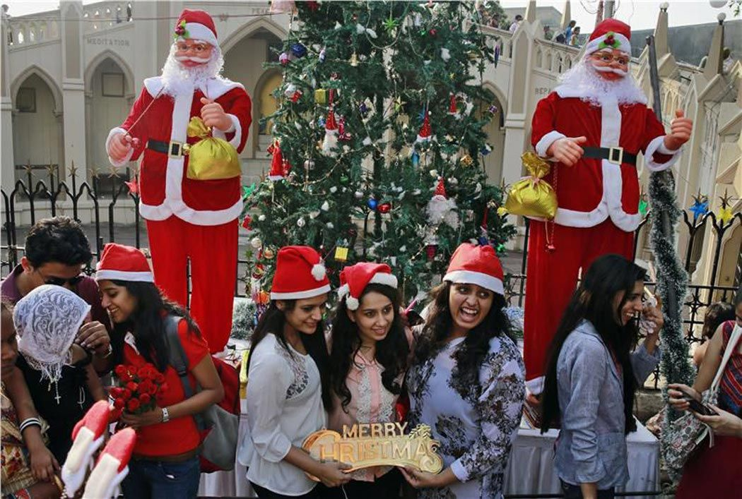 College students celebrating Christmas Christmas