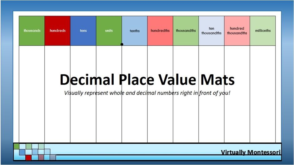 Decimal Place Value Mats  X  Legal Size  Decimal Chart