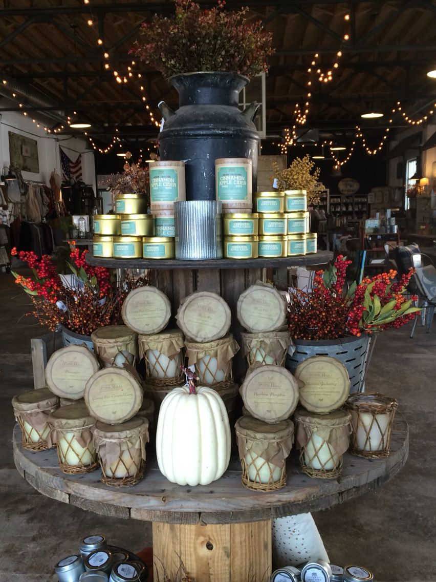 Fall candles are stocked at the faded farmhouse fall